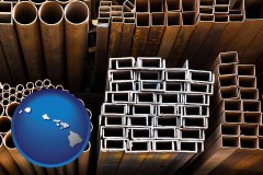 hawaii map icon and metal pipes, studs, and tubes for sale