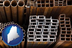 maine map icon and metal pipes, studs, and tubes for sale