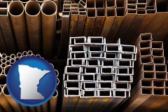 minnesota map icon and metal pipes, studs, and tubes for sale