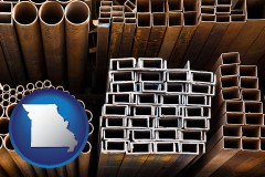 missouri map icon and metal pipes, studs, and tubes for sale